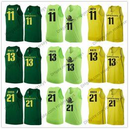 Yellow Basketball Jerseys Canada - Oregon Ducks #11 Keith Smith 13 Paul White 21 Evan Gross 10 Victor Bailey Jr. Apple Green Yellow NCAA College Basketball Jerseys S-3XL