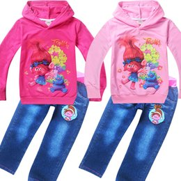troll shirts for girls Australia - 2017 Spring Autumn clothes suits Trolls poppy jeans for girls hoodies T shirts 2pcs set kids clothing children costumes 4-10Y
