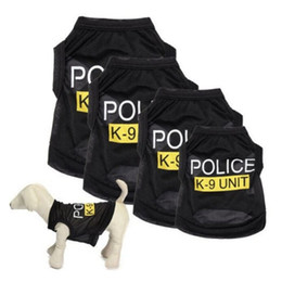 summer costumes for dogs 2019 - Police Suit Cosplay Dog Clothes Black Elastic Vest Puppy T-Shirt Coat Accessories Apparel Costumes Pet Clothes for Dogs