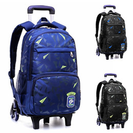 wheeled travel bags NZ - Boy Stylish Waterproof Children School Bags With 2 6 Wheeled Trolley Backpack Gift Boys Removable Travel Backpack Luggage Bag Schoolbag