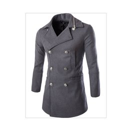 0cc2f35cd7de9 2017 Fashion Winter Mens Jackets And Coats Duffle Coat Stylish British style  Single Breasted Mens Pea Coat Wool Trench Coat