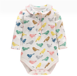 Chinese  INS hot styles New spring fall baby kids Clothing romper birds print design Long Sleeve girl Romper Elegant romper 0-2T manufacturers