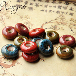 Clay flowers for jewelry online shopping - XINYAO mm Flower Glaze Ceramic Beads Safe Buckle Beads With mm Hole for Women DIY Bracelets Jewelry Making K0987