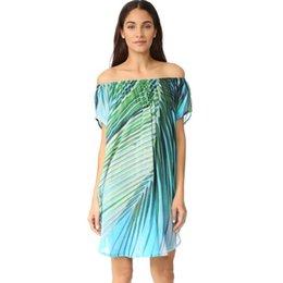 20db45dd0d64 2019 Women Summer Off Shoulder Boho Dress Chiffon Leaf Print Asymmetric Hem  Casual Loose Beach Dress Kaftan Womens Clothing