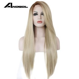 Discount front lace wigs for white women - Anogol High Temperature Fiber Glueless Long Straight Ombre Brown to Blonde Synthetic Lace Front Wig for White Women