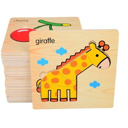 Wood Animal Figured Toys NZ - Let's make Baby 3D Puzzle Jigsaw Wooden Toys Cartoon Animals Puzzles Child Educational Toy for Children Montessori Toys Puzzle