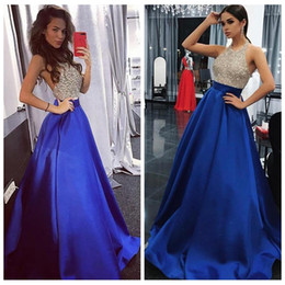 Wholesale 2018 Charming Royal Blue Cystals Beaded Prom Dresses Long Sexy Backless Sleeveless Evening Dress Formal Party Gowns