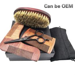 Wholesale OEM Kit Customization logo Natural Bristle Beard Brush Scissors Comb Wood Shaving Men s Face Care Beard Care Personalized