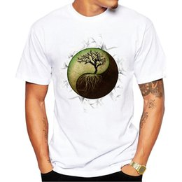 Design Tee Shirts Canada - Fashion Yin Yang Tree Design Men T-shirt Short Sleeve Customized t shirts Vintage Tree Printed Cool Hipster tee Shirts