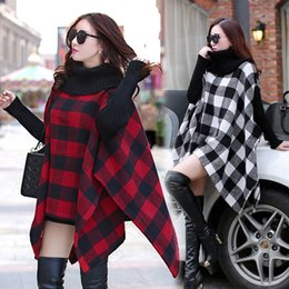 knit poncho patterns NZ - Winter New women's fashion warm knitted turtleneck asymmetric grid plaid pattern wool woolen mantle cloak pullover poncho coat tops