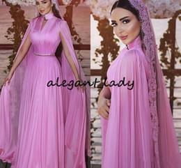 $enCountryForm.capitalKeyWord NZ - Vintage Saudi Arabis Evening Dresses hot pink high neck Key-Hole Ruched Long Cape Sleeve Dubai Kaftan Caftan Occasion Prom Wear Gown