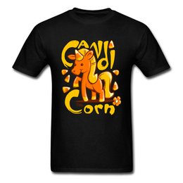 Candicorn T-shirt para hombres Kawaii Unicorn T-Shirts Mens Summer Tops T-shirt negro Cartoon Designer Cotton Clothes