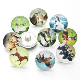 18mm bezel Australia - 10PCS lot Mixed Horse Pattern Glass 18mm Snap Buttons For Snap DIY Making Bracleets Bangles DIY Gift Fixed Mixed 7250