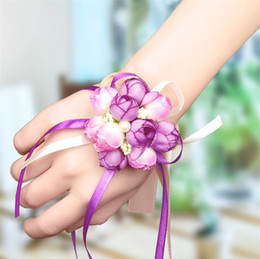 Korean red flowers online shopping - Wedding wedding supplies Korean simulation cloth art pearl wrist Flower Wedding Bridesmaid wrist flower sister group hand flower T4H0224