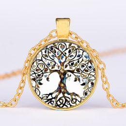 Rhinestone Glasses Chain Australia - Vintage Living Tree of Life Glass Cabochon Bronze Chain Pendant Necklace