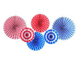 Blue Party Decorations UK - 6Pcs-Lot 4th of July Decorations Paper Fan for Patriotic Colorful Red White Blue American Independence Day Party Supplies Hanging Decors