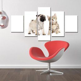 $enCountryForm.capitalKeyWord NZ - 5 Panels Canvas HD Prints Paintings Living Room Decor Pugs Puppies And Kitty Poster(Unframed Framed)