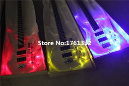 bass frets 2018 - Special price Factory custom 24 frets 4 strings acrylic body electric bass guitar with 3 color led light,can be customiz