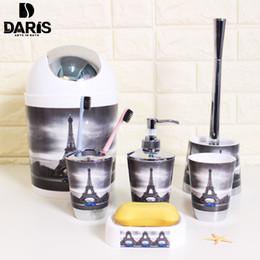 SDARISB 6 UNIDS Eiffel Baño Accesorio Baño Jabonera Dispensador Botella Set de Cepillo de Dientes Conjunto de Productos de Baño Para El Hogar Conjunto de Baño de Lavado en venta
