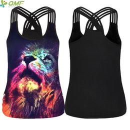 sexy yoga pants for women 2018 - Colorful Galaxy Lion Head Yoga Shirts Sexy Women Tank Tops Strappy Cross Fitness Sleeveless Vest Singlet For Exercise Wo