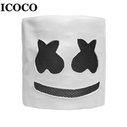 nights costume 2019 - ICOCO Fashionable Halloween Party Night Club Latex White Mask Adult DJ Marshmallow Mask Cosplay Costume Helmet Sale disc