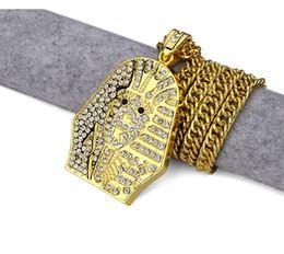 Egypt Pendants Australia - Fashion Created Rhinestone Egypt Pharaoh Pendants Bling Rock Jewelry Gift Necklaces HipHop Charm Last King Chains