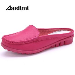 $enCountryForm.capitalKeyWord Canada - 2017 hot summer genuine leather slippers for women shoes flat with low heel sandals comfortable four colours shoes women