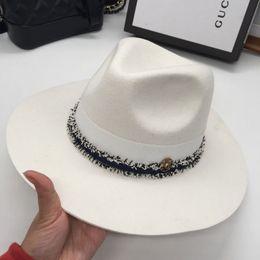 Fedora white man online shopping - autumn and winter fashion m patchwork woolen fedoras tyranids jazz hat female hat