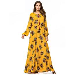 de011a3975 Plus size 4xl party yellow dress mulheres manga longa flor impressão casual  new fashion elegante vestidos longo maxi dress 2018
