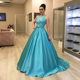 Discount red carpet dresses for girls - Blue Satin A-Line Evening Gowns for Women O-Neck Lace Top Formal Evening Dresses 2019 Girls Pageant Party Dresses robe s
