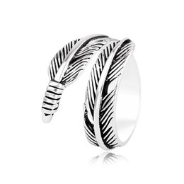 plates gift europe UK - Feather Ring Men and women Europe United States Retro Thai Silver Plated 925 Silver Personality Special Index finger ring Men Ring jewelry