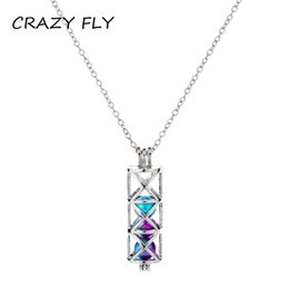 wholesale pendant cylinders 2019 - CRAZY FLY Hot Sale Luminous Cylinder Pendant Charm Necklace Statement Silver Chain Necklace Art Christmas Gift For Women