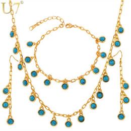 $enCountryForm.capitalKeyWord Australia - U7 Trendy Charms Necklace Earrings Bracelet Set Gift Items For Women Gold Color Blue Stone Fashion Jewelry Sets S393
