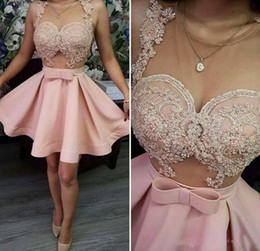Cheap mini short party dress online shopping - Pink Homecoming Dresses Sheer Neck Lace Appliques Short Prom Dress Sheer Neck See Through Cocktail Party Dress Cheap Gowns