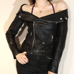 $enCountryForm.capitalKeyWord Canada - Short Style Sexy Off-shoulder Women Leather Jacket Black Motorcycle Biker Leather Jacket Coat for Girls