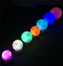 3d nightlight online shopping - 3D print football lights World Cup souvenir football lights nightlights creative lights touch pat colorful cold white warm white