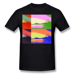 tee shirts art Canada - High Quality Mens Cotton Santa Monica Pier Pop Art T Shirts Mens Crew Neck Beige Short Sleeve Tee Shirt Big Size Geek T Shirts
