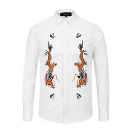Graffiti Flowers UK - 2018 Fall Winter Collection Medusa Business Casual Men's Long Sleeve Shirt Lapel Flower Wave Button Stripe Graffiti Fashion Style 51