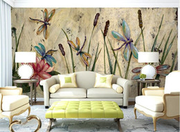 Mural painting wallpaper oil online shopping - Personalized Dragonfly Lotus Mural Wallpapers Eurpoean Vintage Large Photo Murals Oil Painting Print Decal Wall Art Wall Paper