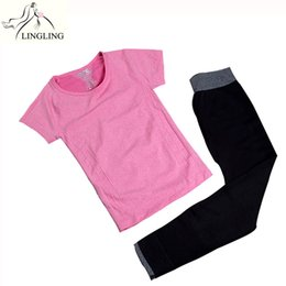 China 2 pieces Yoga Sets Women Fitness Yoga T-shirt & Pants Girl Sport Set Gym Clothes Breathable Training Sports Suit 6 colors supplier colors grey pants suppliers