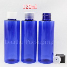 $enCountryForm.capitalKeyWord Canada - 120ml X 50 empty blue plastic lotion bottles for cosmetic packaging, 120cc shampoo containers, PET bottle with screw lid