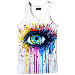 Vente en gros Gilet Imprimé 3D Femmes Art Vêtements Gilets 3D Gilet de Sport Graffiti Big Eye 3d Imprimer Manches Sans Manches D'été Débardeur
