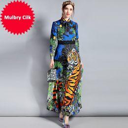 0ae900b1d5a43 Spring Fashion Designer Maxi Dress Women's Long Sleeve Bow Collar Floral  Animal Print Long Vintage Dress