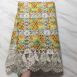 $enCountryForm.capitalKeyWord NZ - 5Yards pc High quality khaki african water soluble lace embroidery and yellow cotton fabric with rhinestone for dress BW10-1