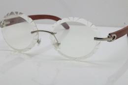 92d38c862 Boa Qualidade New Unisex Óculos De Madeira Sem Aro Rimless Aparar Lente  T8200761 Óculos Vintage Hot Optical Oval Lens Eyewear Tamanho: 60-20-135
