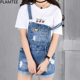 Blue Plus Size Jumpsuit Australia - PLAMTEE Patches Big Pocket Short Overalls Women Cuffs Hole Denim Jumpsuit Ripped Jeans Plus Size Romper Strap Sleveless Playsuit