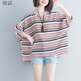 $enCountryForm.capitalKeyWord NZ - 2018 Summer Fashion Loose T Shirt Women Bat Sleeve All-Match Striped Plus Size T Shirts Casual Korean Top 4xl 5xl 6xl BTS XY407