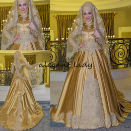 Satin Beaded Applique Bow Muslim Wedding Dresses 2018 Vintage Long Sleeve Golden High Neck Kaftan Caftan Wedding Bridal Gowns