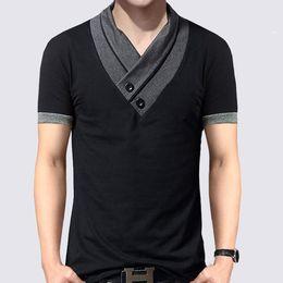 V Neck Button T Shirts NZ - New Plus Size Summer Mens T-Shirts Fashion 2016 Slim Short Sleeve Patchwork V Neck Cotton Black T Shirt Men Button Tops & Tees