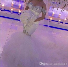 $enCountryForm.capitalKeyWord Canada - 2017 Sexy Off Shoulder Mermaid Wedding Dresses Bling Bling Beads Crystal Tulle Skirts Bridal Gowns Unique Cutting Robe De Mariage